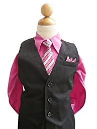 Classykidzshop Black Fuchsia Toddler Boy Vest Set (Baby-Large)