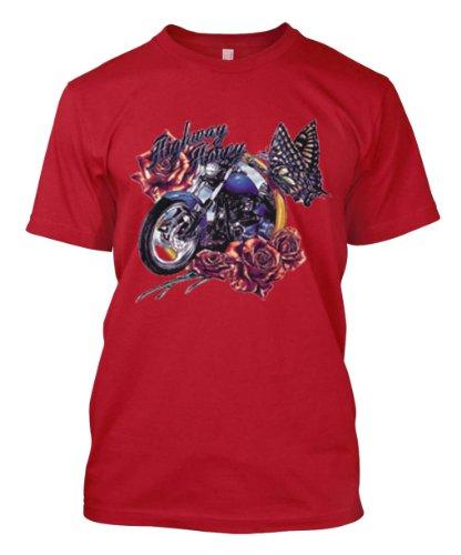Highway Honey Motorcycle Flowers Butterflys Biker Ladys Men's Size T-shirt Tee (Medium, RED)