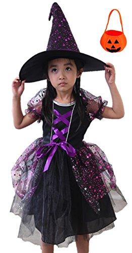 Fuwafuwachild ハロウィン Halloween キッズ ウィッチコスチューム 衣装 なりきり 仮装 パーティー グッズ 子供用 魔女 セット (パープルスター魔女M【110-125cm】)