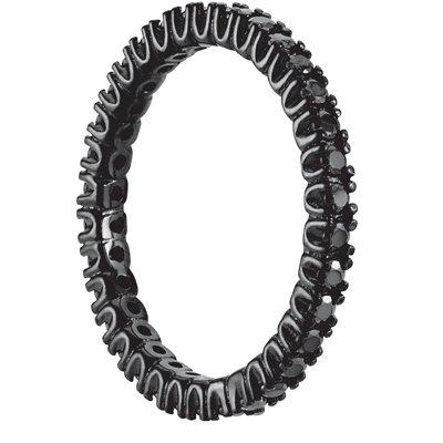 Sterling Silver Black Cubic Zirconia Eternity Band Black Rhodium Overlay