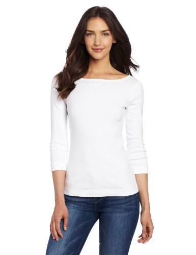 Three Dots Women's 3/4 Sleeve British Tee,White,Medium (Boatneck Tops For Women compare prices)