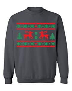 Festive Threads Ugly Christmas Sweater Design (Moose Design) Adult Sweatshirt (Charcoal, Medium)