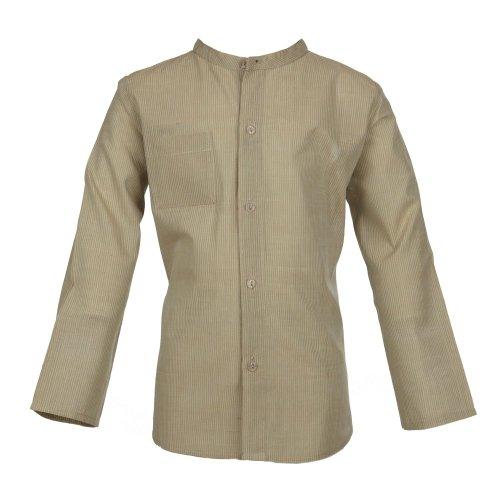 Bouton Kids Pale Green Stripe Cotton Tunic Shirt for Boys
