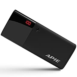 APIE Power Bank Portable Charging 10000mAh External Battery Charger Smart LCD Display & LED Flashlight Backup Charger 2.1Amp Input Fast - Black