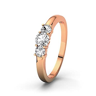 21DIAMONDS Rouby Women's Ring 14 Carat 585 Red Gold 21PREMIUM White Topaz Brilliant Cut Engagement Ring