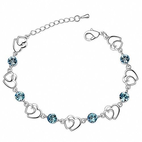 Silver Swarovski Elements Crystal Interlocking Heart Bracelet for women teenage girls, with a Gift Box, Ideal...