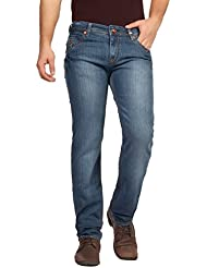 FN Jeans Stylish Dark Blue Slim Fit Low Rise Stone Wash Denim For Men | FNJ9168