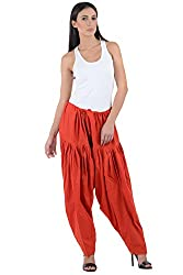 Numbrave Women's Red Cotton Full Patiala Salwar