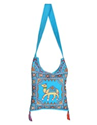 Rajrang New Fashion Elephant Printed Cotton Embroidered Work Turquoise Sling Bag