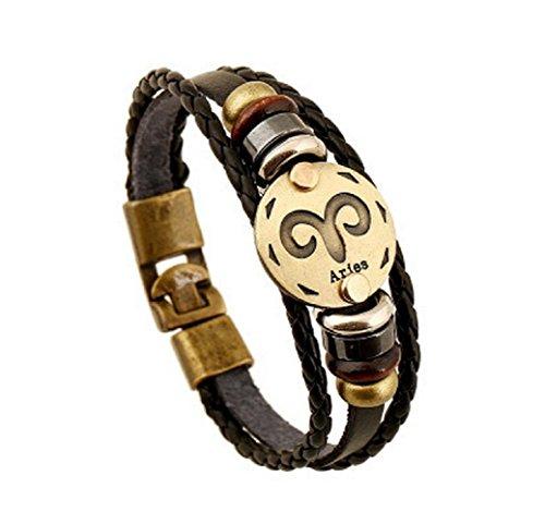 Fariishta Jewelry Handmade Aries Constellation Genuine Leather Wrap Bracelet (Halloween Store Portland Oregon)