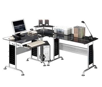 SixBros. Bureau Informatique - verre noir - CT-3807/46