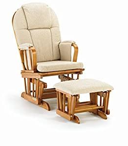Shermag Glider Rocker Combo, Pecan with Beige Chenille