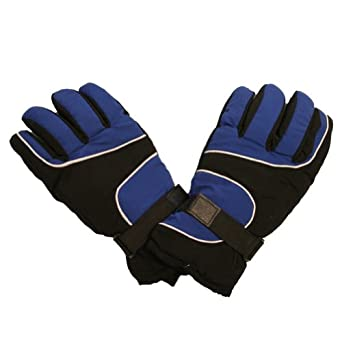 Ski Gloves with Palm Grip and Knitted Cuff (M/L Blue)