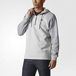 adidas Men's Hooded Cotton Sweatshirt (4055011311122_AB9254_XL_Grey and Black)