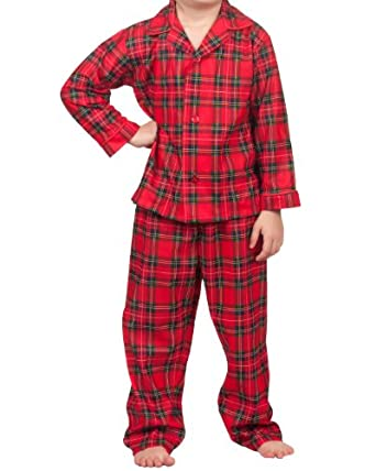 Holiday Red and Green Plaid Tailored Two-Piece Pajama Set: Clothing