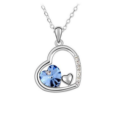 Top Value Jewelry - Dazzling 18K Gold Plated Sterling Silver Sapphire Double Heart Pendant Necklace, Free 18 Inch Chain