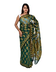 A1 Fashion Women Brasso & Net Green Saree With Blouse Piece