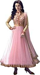 OMSAI FASHION Women's Pink net Embroidery semi stitched Free Size Salwar Suit (Women's Pink Indian Clothing )