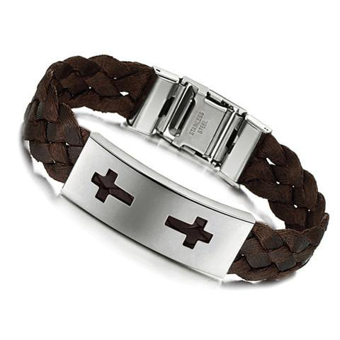 Unisex Brown Braided Bracelet for Men and Women Double Cross Motif on Stainless Steel Plate