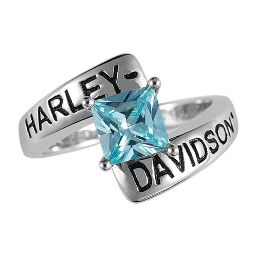 Sterling Silver Harley-Davidson Ladies Crossroads Birthstone Ring - December Blue Zircon