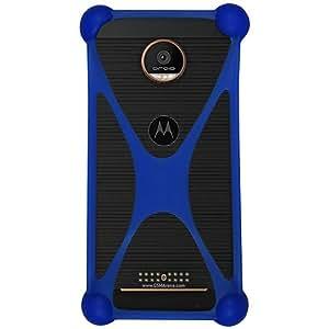 Casotec Universal Silicone Bumper Frame Soft Gel Phone Case Cover for Motorola Moto Z Force - Dark Blue