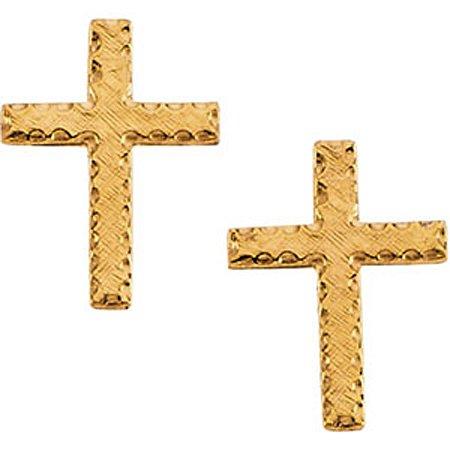 Cross Earrings - 14K Yellow Gold - 2 X 9 X 13