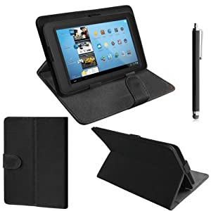 ZEETEK® **HIGH QUALITY 7 Inch Black Leather Folding Stand Case for Lenovo S5000 + Free Stylus! **