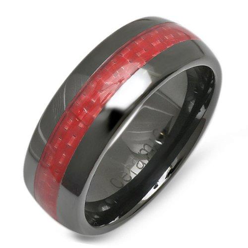 Black Ceramic Men's Ladies Unisex Ring Wedding Band 8MM Dome Shaped ...