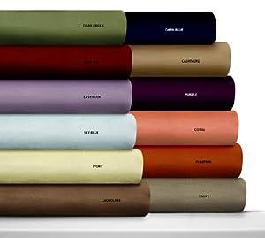 Luxury Solid Cotton Deep Pocket Flannel Sheet Set Size: Queen, Color: Blue