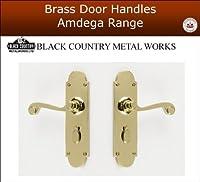 Lever Lock Door Handles - 1 Pair Genuine Amdega Solid Brass by Black Country Metal Works