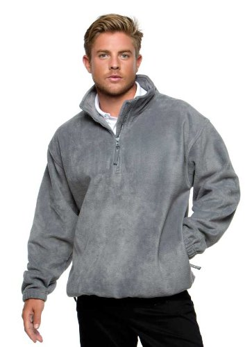 Mens 1/4 Half Zip Premium Fleece Jackets Sizes XS to 3XL- FOR WORK & LEISURE (3XL / XXXL, BLACK)
