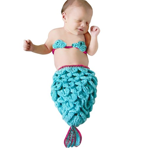 Little Hand Baby Girls' Mermaid Crochet Knit Costume Diaper Photography Prop Set