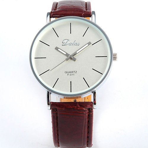 AMPM24 Coffee Leather Women Lady Girl White Dial Sport Quartz Wrist Watch Gift