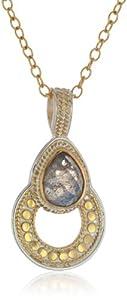 """Anna Beck Designs """"Gili Labradorite"""" 18k Gold-Plated Labradorite Drop Open Pendant Necklace, 18"""""""