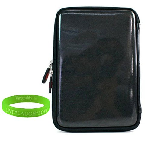 Hard Cube Black Carrying Case for Barnes and Noble Nook Color + Vangoddy Live*Laugh*Love Wristband