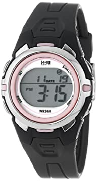 Timex Women's T5K683 1440 Sports Digital Mid-Size Gray/Pink Resin Strap Watch
