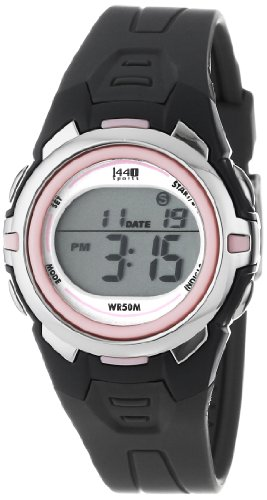 Timex Women's T5K6839J 1440 Sports Digital Mid-Size Gray and Pink Resin Watch