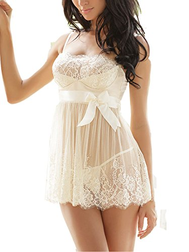 Avidlove Women Sexy Transparent Splicing Bow Strap Dress Lace Lingerie and G-string (M, Style1-Beige (FBA))