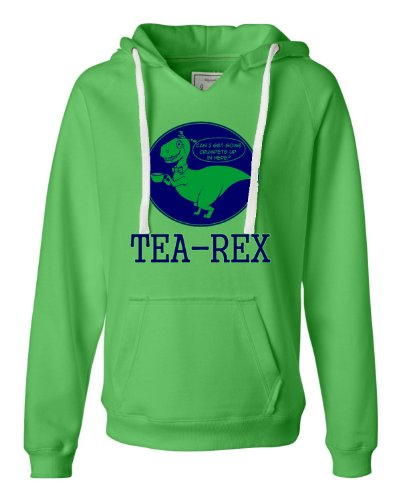 X-Large Lime Womens Tea-Rex Tyrannosaurus Rex Funny T-Rex Deluxe Soft Hoodie