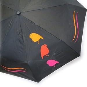 Parapluie Neyrat automatique 'Oiseaux' noir rose orange