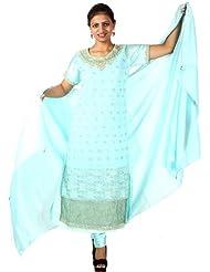 Exotic India Aqua-Sky Designer Long Choodidaar Suit With Zardozi Work - Aqua-Sky