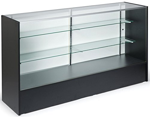 6-feet-wide Free-Standing Glass Display Case with Height-Adjustable Shelves and Sliding Door - Anodized Aluminum Extrusions With Black Melamine Panels (Theater Display Case compare prices)