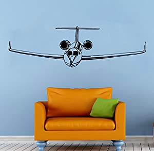 Airplane plane wall vinyl decal aviation sticker art mural for Airplane wall mural
