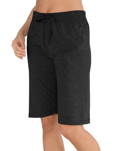 Champion Women's Favorite Cotton Jersey Bermuda Short, Black, Small