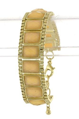 Trendy Fashion Jewelry Rectangle Jewel Chain Bracelet By Fashion Destination   (Champagne)