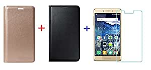 (COMBO OFFER) for Coolpad Mega 2.5D ( 2 ) Leather Flip Cover + Premium Tempered Glass screen Protector - ( Gold + Black + Tempared )