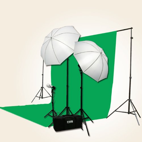 ePhoto 3 Point Chromakey Green Screen Video Lighting Kit 10 x 12ft Green Chromakey Backdrop Screen Studio Light Kit by ePhotoInc HBU3