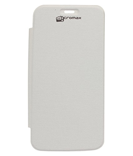 DMG Protective Flip Cover No Back Replace Leather Case For Micromax Canvas Turbo A250 (White)