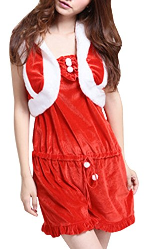Meilya Women's Sexy Santa Cos Christmas Fantasy Dancing Party Jumpsuits Costume