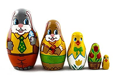 Matryoshka Matrioska Babuska Russian Nesting Wooden Doll Easter Bunny Eggs Babushka 5 Pcs Stacking Hand Painting Beautiful Nested Matriosjka Matreoska Matreshka Matrjoska Matroeska